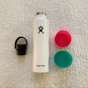 Hydro Flask- 24oz white with accessories